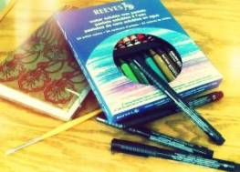 Simple art supplies:  Sketchbook, decent paintbrush, Faber-Castell India ink pens, and Reeves water-soluble pastels