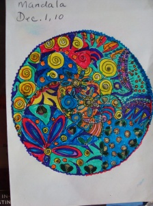 This is a mandala that I did with ink and watercolor. The mandala symbolizes the flower garden that we create from the seeds that we plant. Our life is a garden...